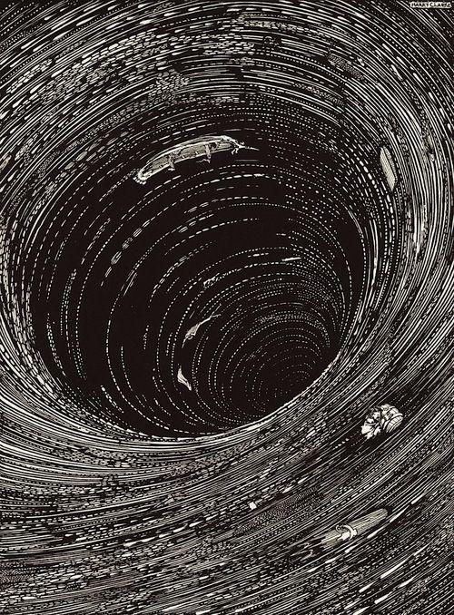 Harry Clarke, Descenso a la vorágine (... en el Phlegethon aullando a continuación); Cuentos de Edgar Allan Poe del misterio y de la imaginación, 1919.