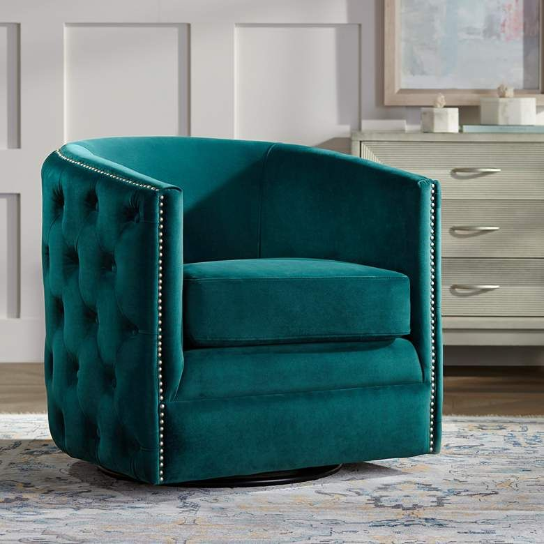Bridgerton Teal Green Velvet Tufted Swivel Accent Chair 78r58 Lamps Plus In 2020 Accent Chairs Blue Accent Chairs Swivel Accent Chair