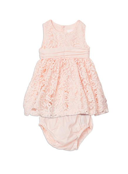 Lace dress with knicker from Pumpkin Patch girl range, powder pink sizes nb to 12-18m. Style W6BG80006.