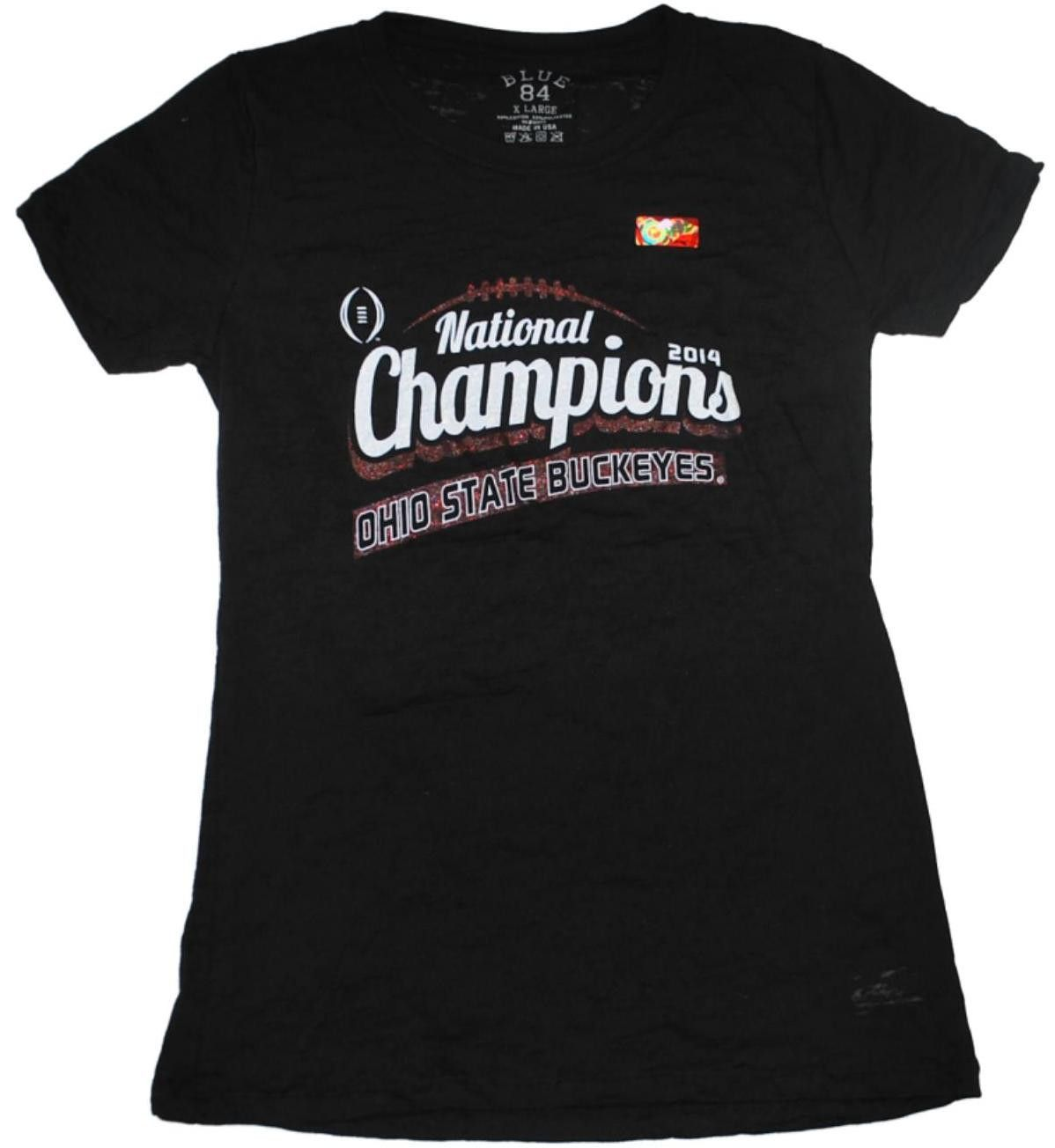 Ohio State Buckeyes 2015 College Football Champions Womens V-Neck Black T-Shirt