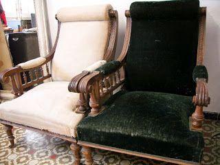 decoración vintage, antiguitats-baraturantic: sillones- butacas de nogal antiguas