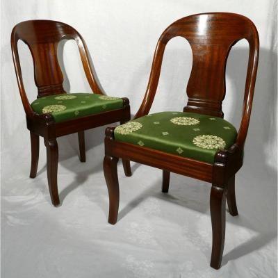 Paire De Chaises Gondole Acajou Empire Mobilier De Salon Chaise Acajou