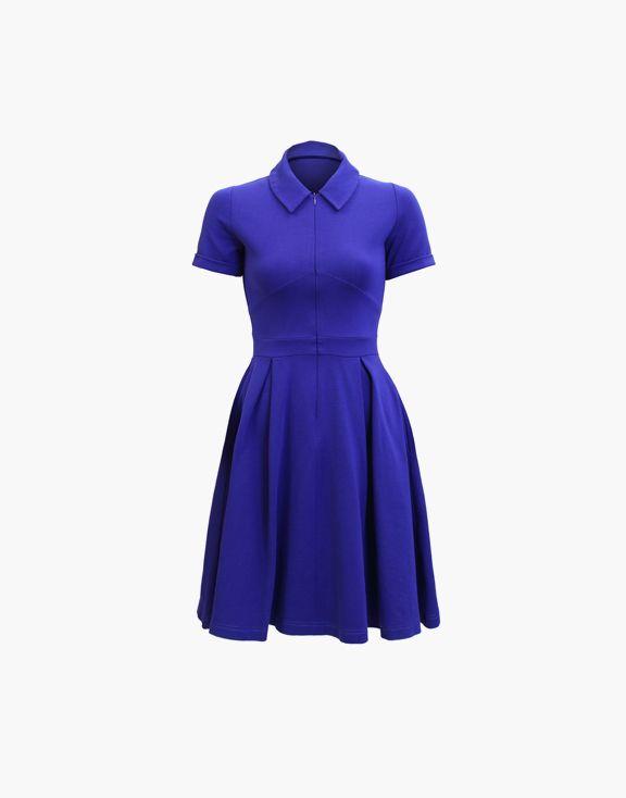 Robe Morgane Marigold par Marilyne Baril 150.00 $  La robe Morgan est une robe à col chemisier avec une fermeture éclair invisible au devant. Sa bande de taille et son tissu extensible son avantageux pour la silhouette.  66% Rayonne 35% Nylon 2% Spandex Créée et fabriquée à Montréal.