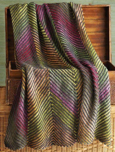 Knitting Pattern for Bias Stripe Afghan | AFGHANS/BLANKETS ...