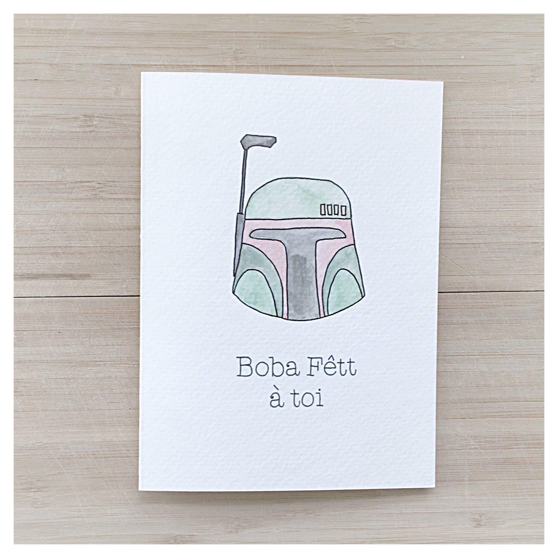 Boba Fett A Toi Punny Birthday Cards French Card Star Wars