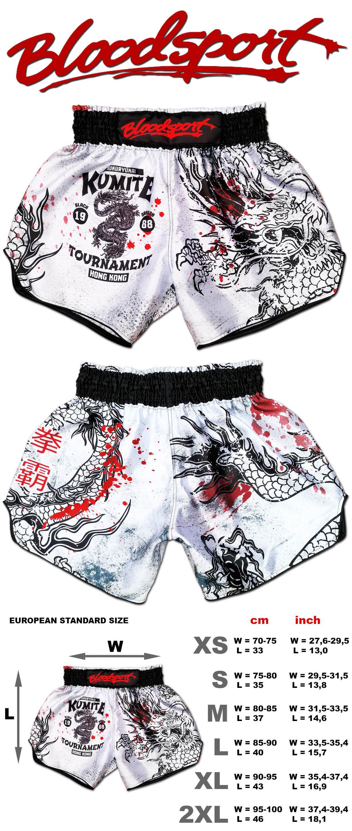 Muay Thai Designed for Kickboxing MMA Dragon Do Muay Thai Shorts Retro Black