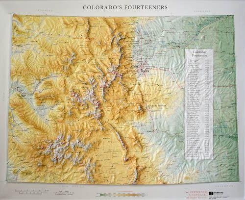 Colorado 14er Colorados Fourteeners Raised Relief Map By