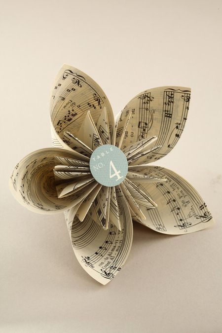 Book Page Origami Kusudama Flower Music Crafts Paper Flowers