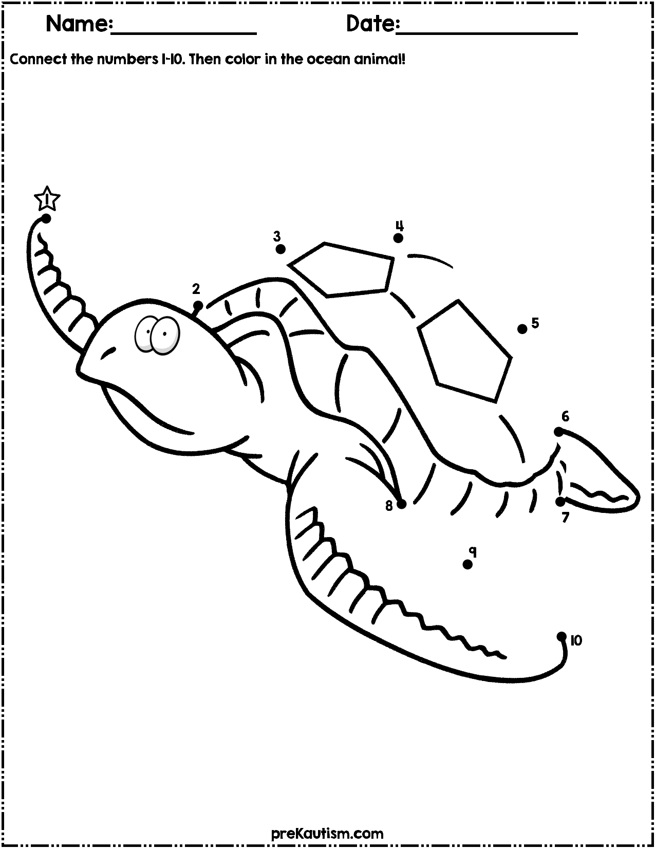 Ocean Animals Dot To Dot Worksheets Numbers 1 10 School Stuff