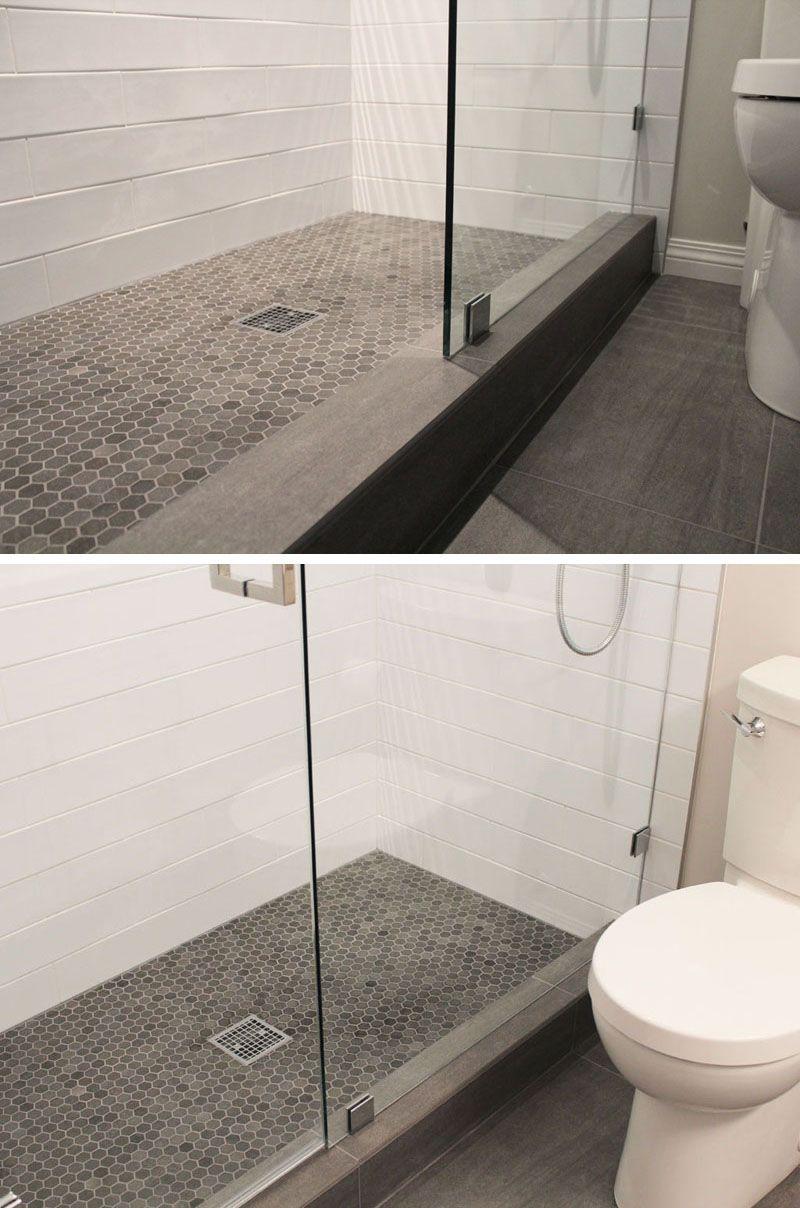 Bathroom Tile Ideas Grey Hexagon Tiles Small Grey Hexagonal Tiles On The Floor Of This Shower Are In Sli Grey Bathroom Tiles Gray Shower Tile Hexagon Tiles