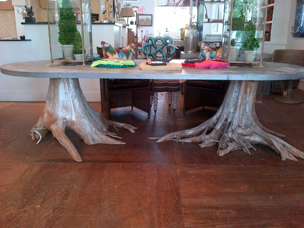 Dining Room Oval Double Root Base Legs Zinc Dining Table On Wooden