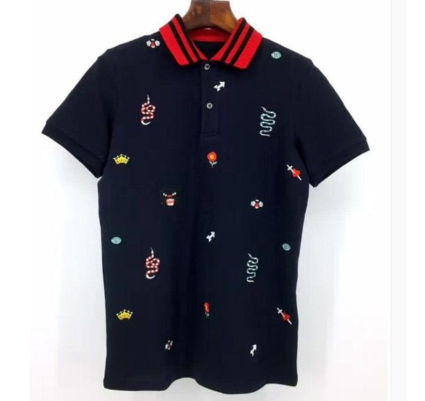 5c6197fd High New 2019 Men High Embroidered Snake Leopard Bee Flowers Polo Shirts  Shirt Hip Hop Skateboard Cotton Polo Top S-2XL #C17