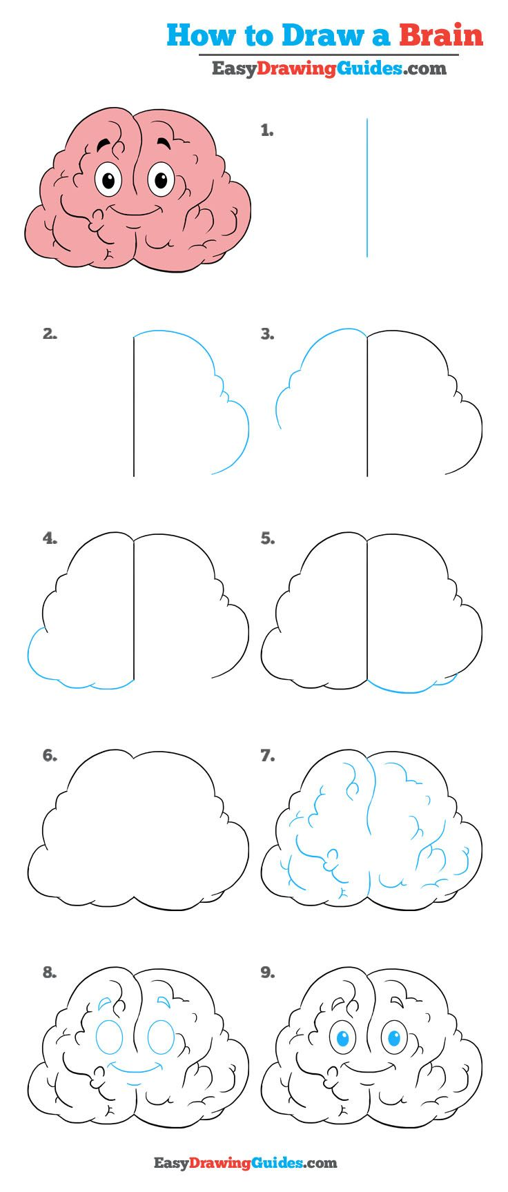 How To Draw A Brain Really Easy Drawing Tutorial Drawing Tutorial Easy Drawings Drawing Tutorials For Kids