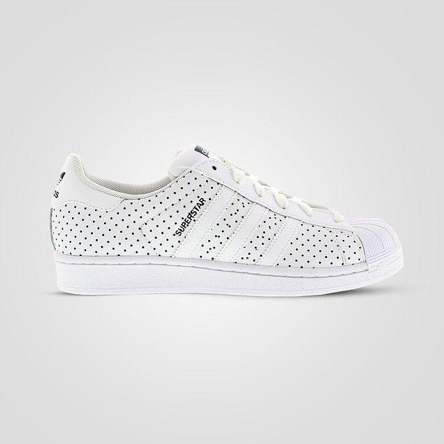 Adidas Originals Superstar Navy Polka Dot in White stays fresh and minimal   MyNewShoes 46e2c26ef
