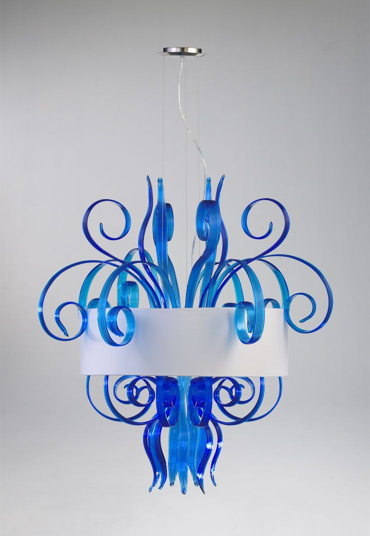 cassina cyan large pendantthis pendants bold color and freeform glass make it - Cyan Canopy Interior