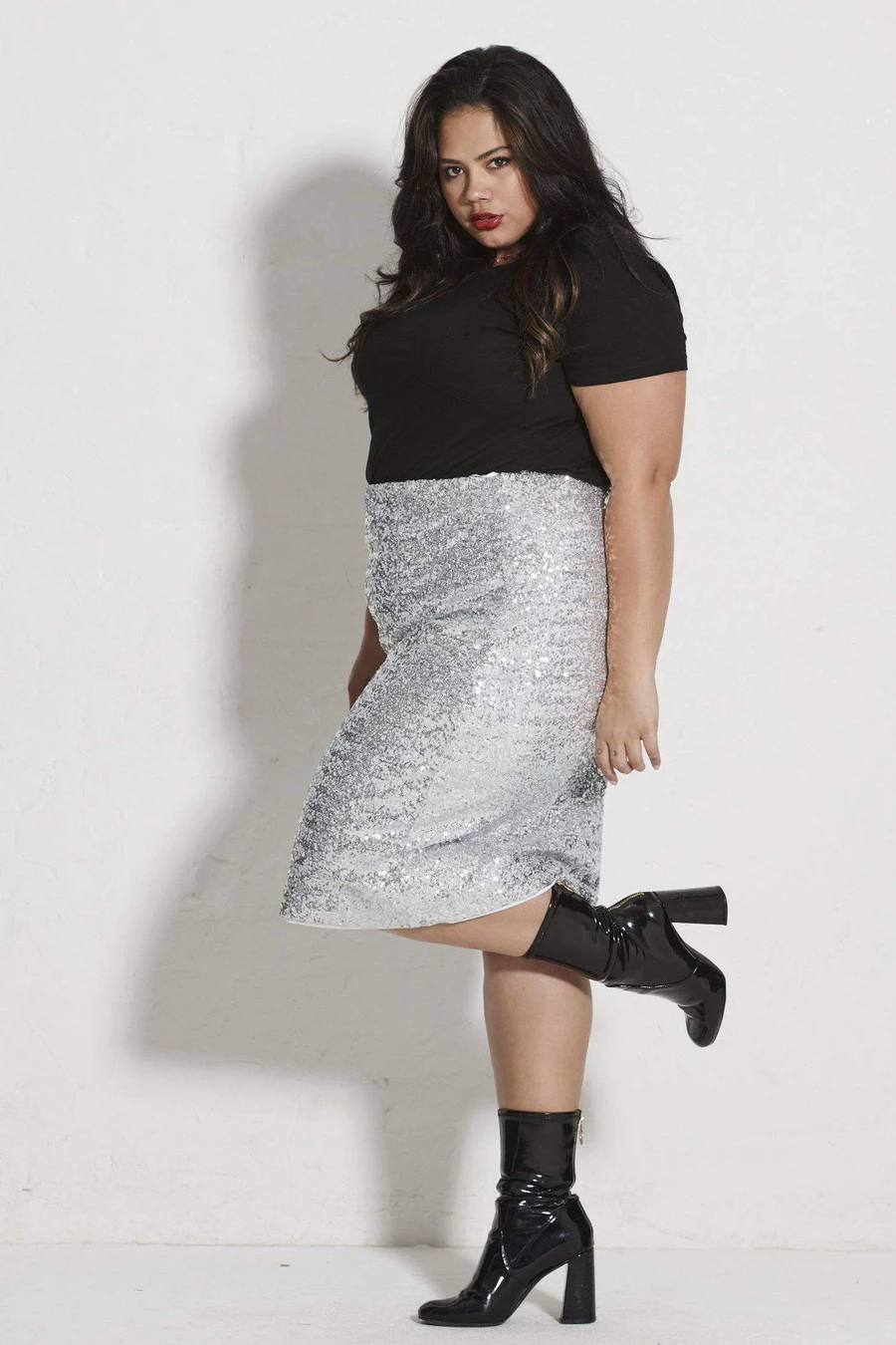 Stretch Sequin Skirt Silver HUR SQUAD womensfashion