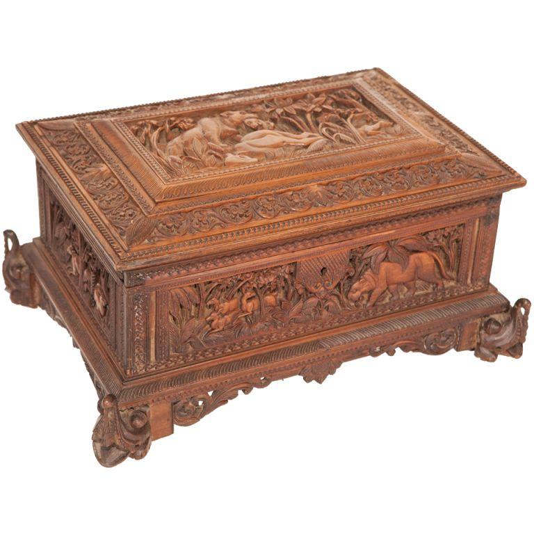 Art Nouveau Rare Art Noveau Antique Gilt Filigree Jewellery Box Erhard & Sohne C1910 Key