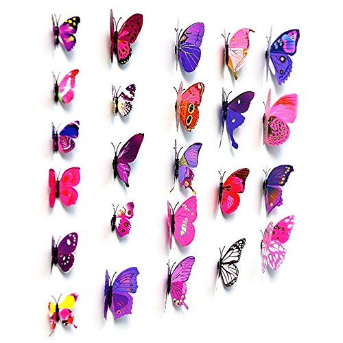 Your Supermart 12pcs 5d Butterfly Wall Stickers Christmas Room