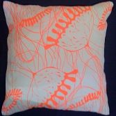 Hand screen printed linen cushion with neon pattern print design and silk-velvet backing from Tactile Wonderland | Made By Tactile Wonderland | £49.00 | BOUF