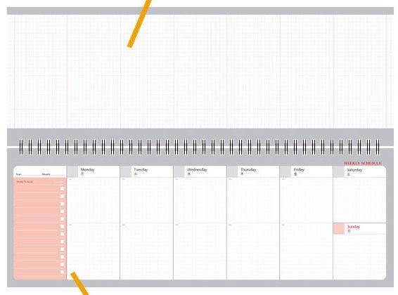 Weekly Planner Notebook  Red, Blue, Gray  / Academic Weekly