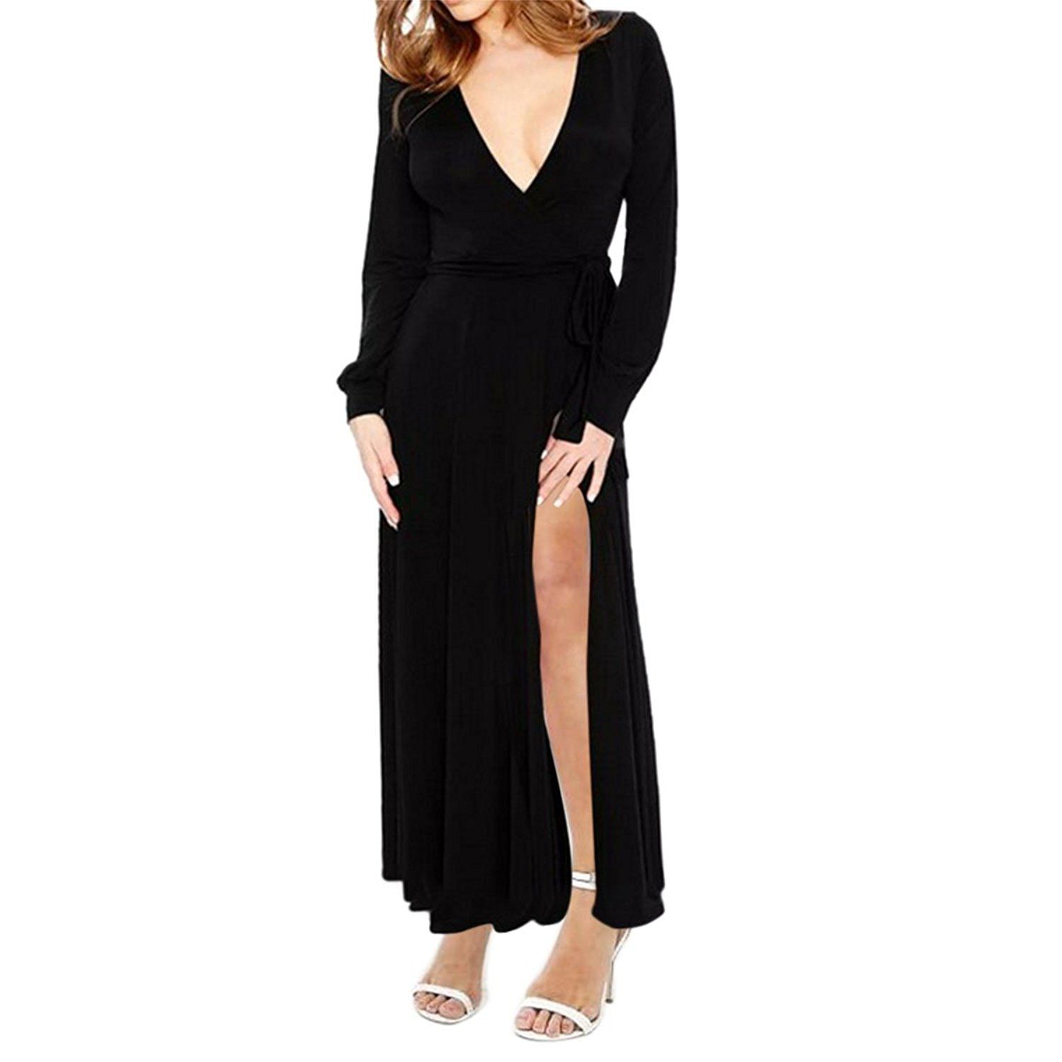 Sueandjoe womenus maxi dress deep vneck front high slit long sleeve