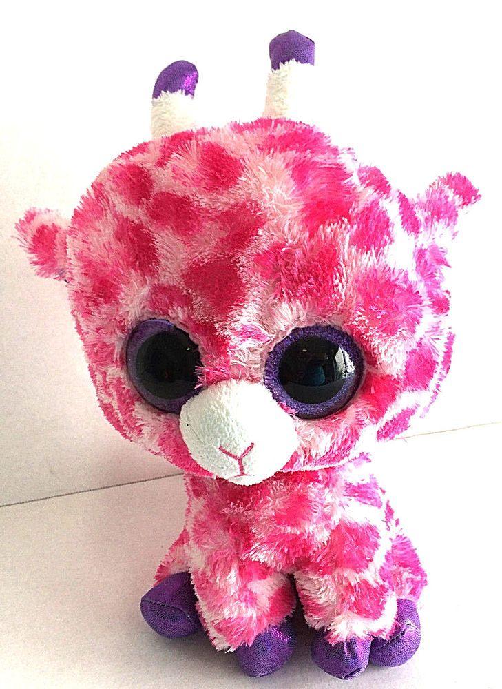 ac430094f33 Ty Beanie Boo Twig Giraffe Medium Pink and White Purple Accents 9
