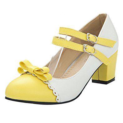 UH Damen Vintage Riemchen Chunky Heels Pumps mit Süß Schleif
