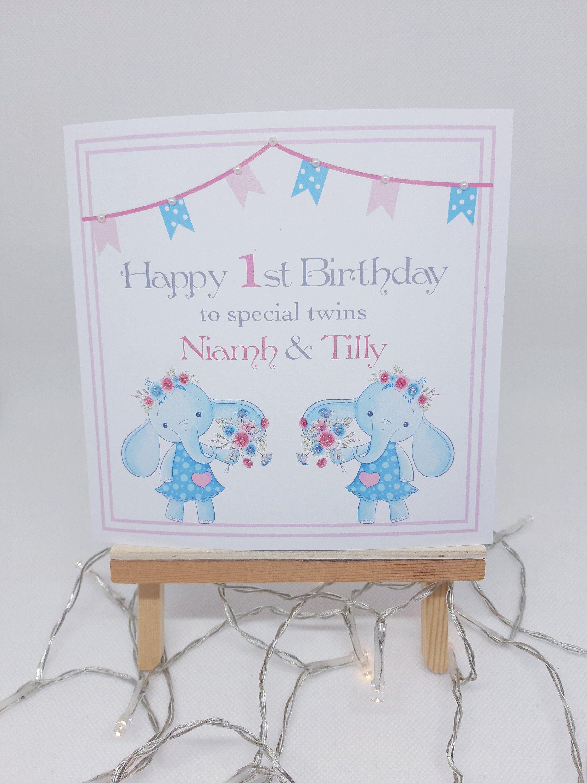 Personalised Girl Twins Birthday Card Handmade 1st Birthday Etsy Birthday Cards For Twins 1st Birthday Cards Birthday Cards