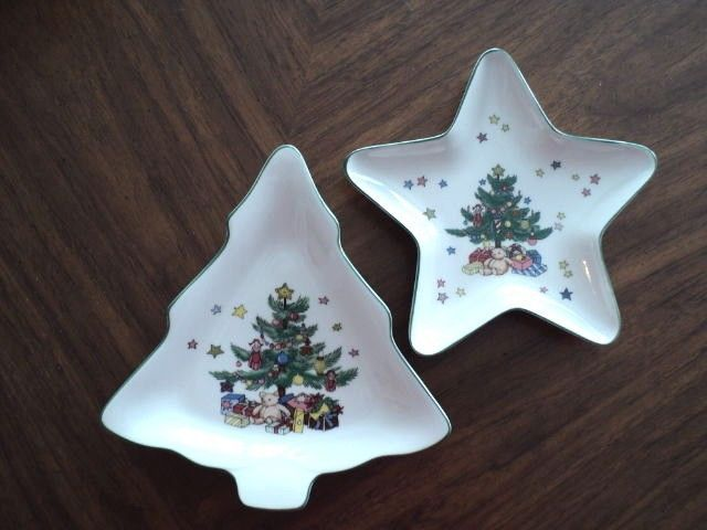 Nikko Christmas Tree Star Tree shape nut trinket serving trays