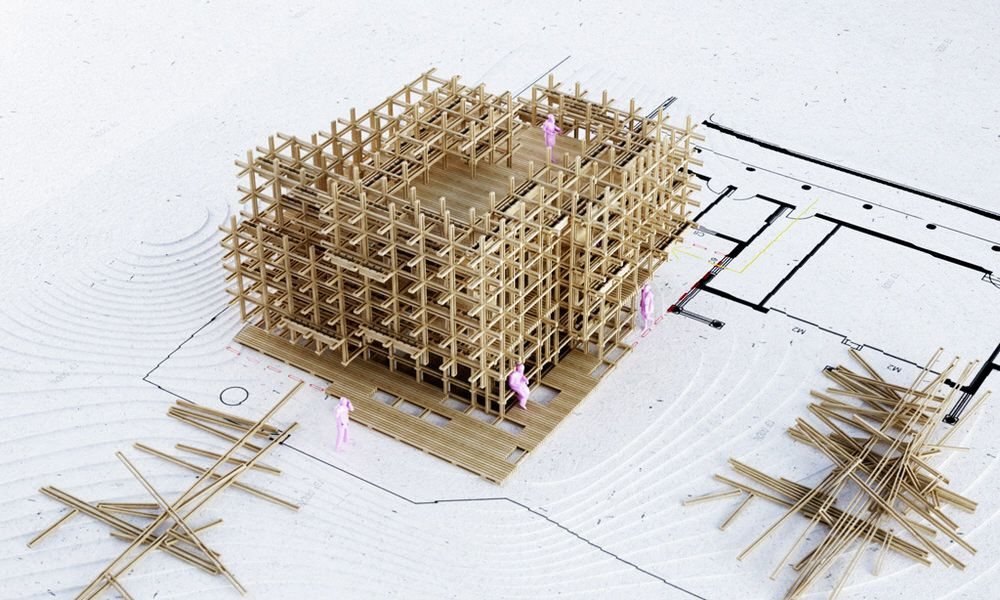 Architectural stick model of gardenhouse by penda madera for Pavilion concept architecture