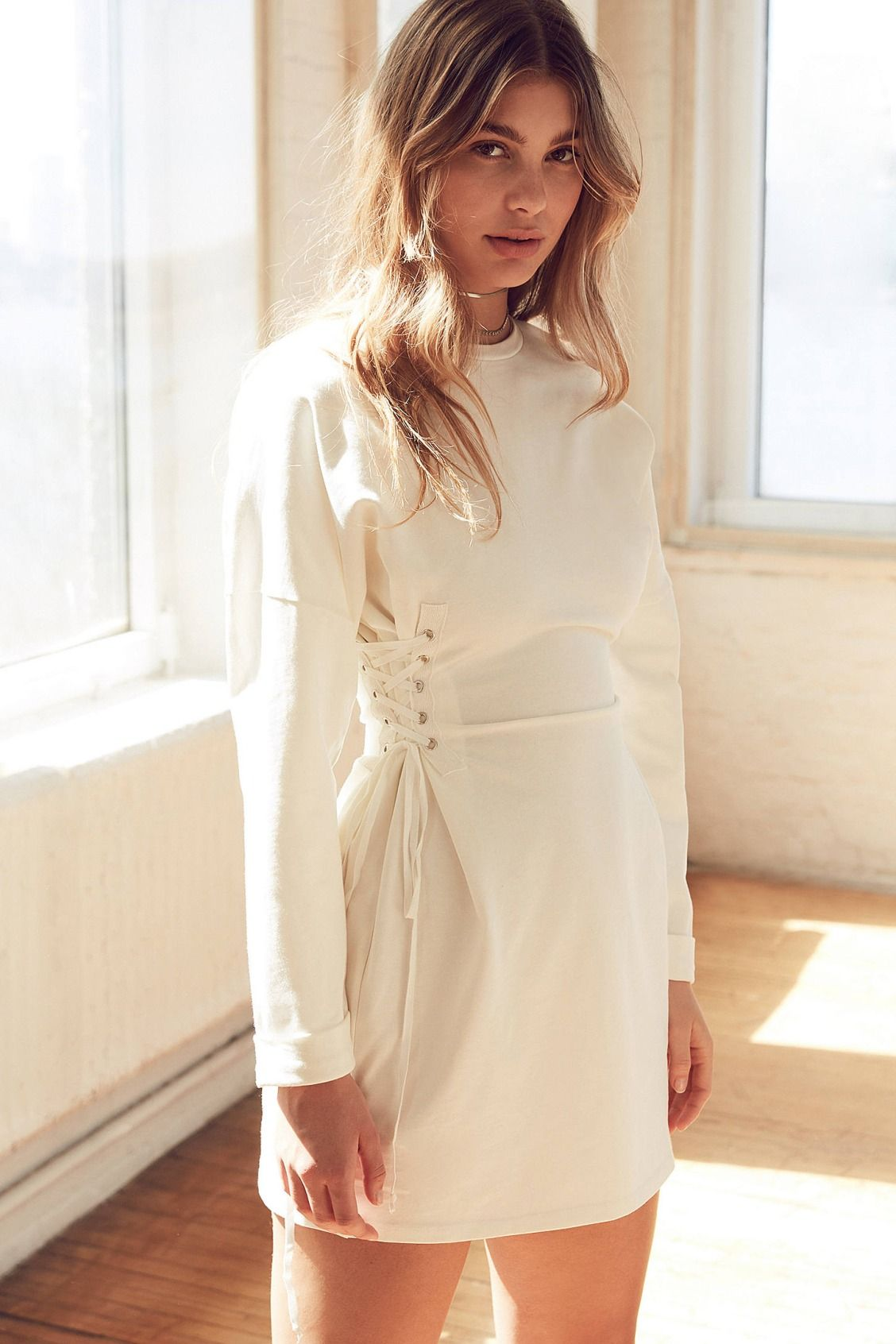 5d21b21df19e Silence + Noise Lace-Up Side Corset T-Shirt Dress | Dresses ...