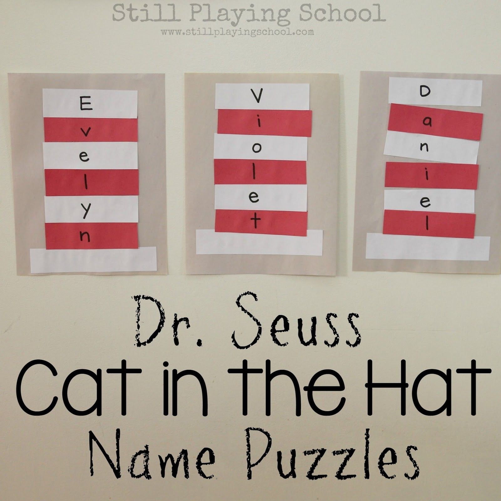 Dr Seuss Cat In The Hat Name Puzzle Craft Preschool