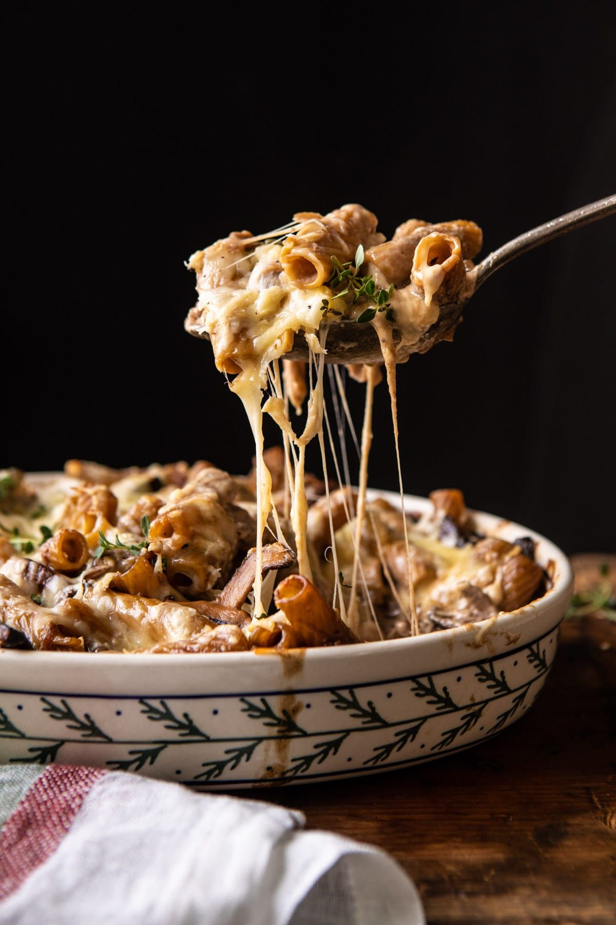 One Pot Creamy French Onion Pasta Bake.