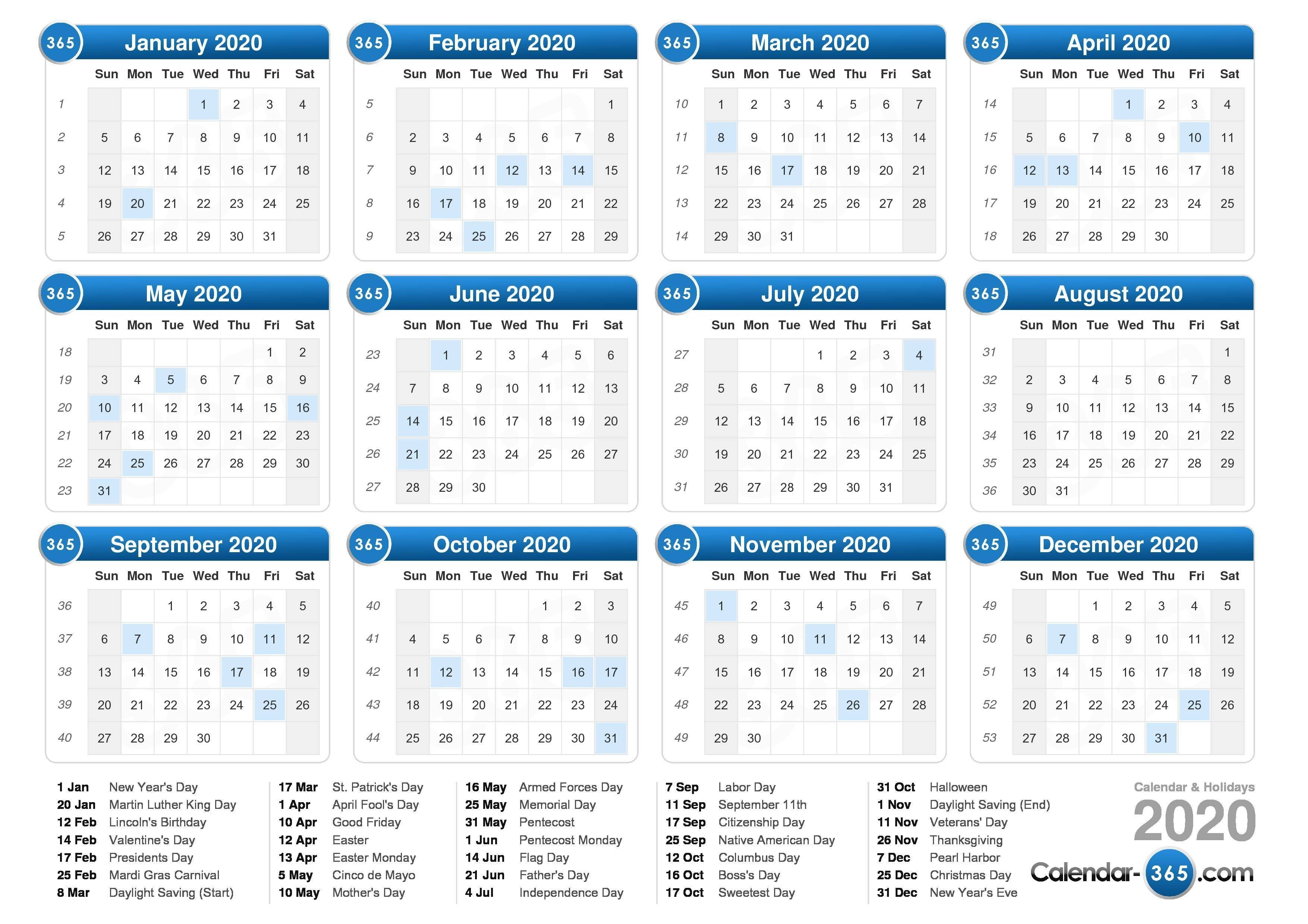 Free Printable 2020 Calendar With Holidays Weekly Calendar