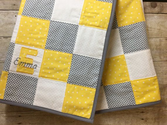 Personalized Baby Quilt Baby Quilt With Name Yellow Gray And White Baby Quilt Embroidered Name Bab Baby Quilts Personalized Baby Quilt Handmade Baby Quilts