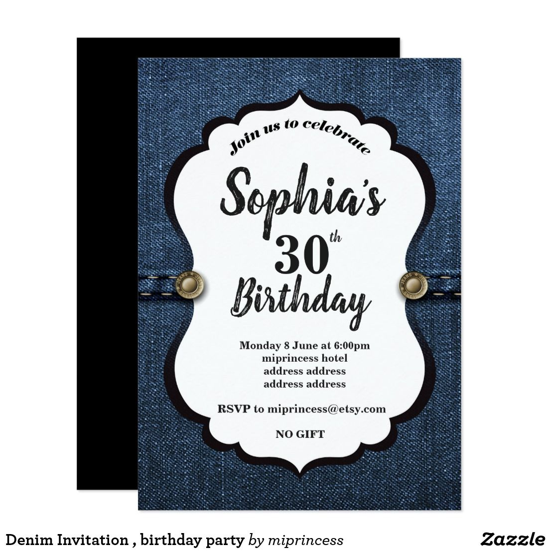 Denim invitation birthday party denim invitation birthday party fun birthday party invites customize your invitations birthdayparty stopboris Choice Image