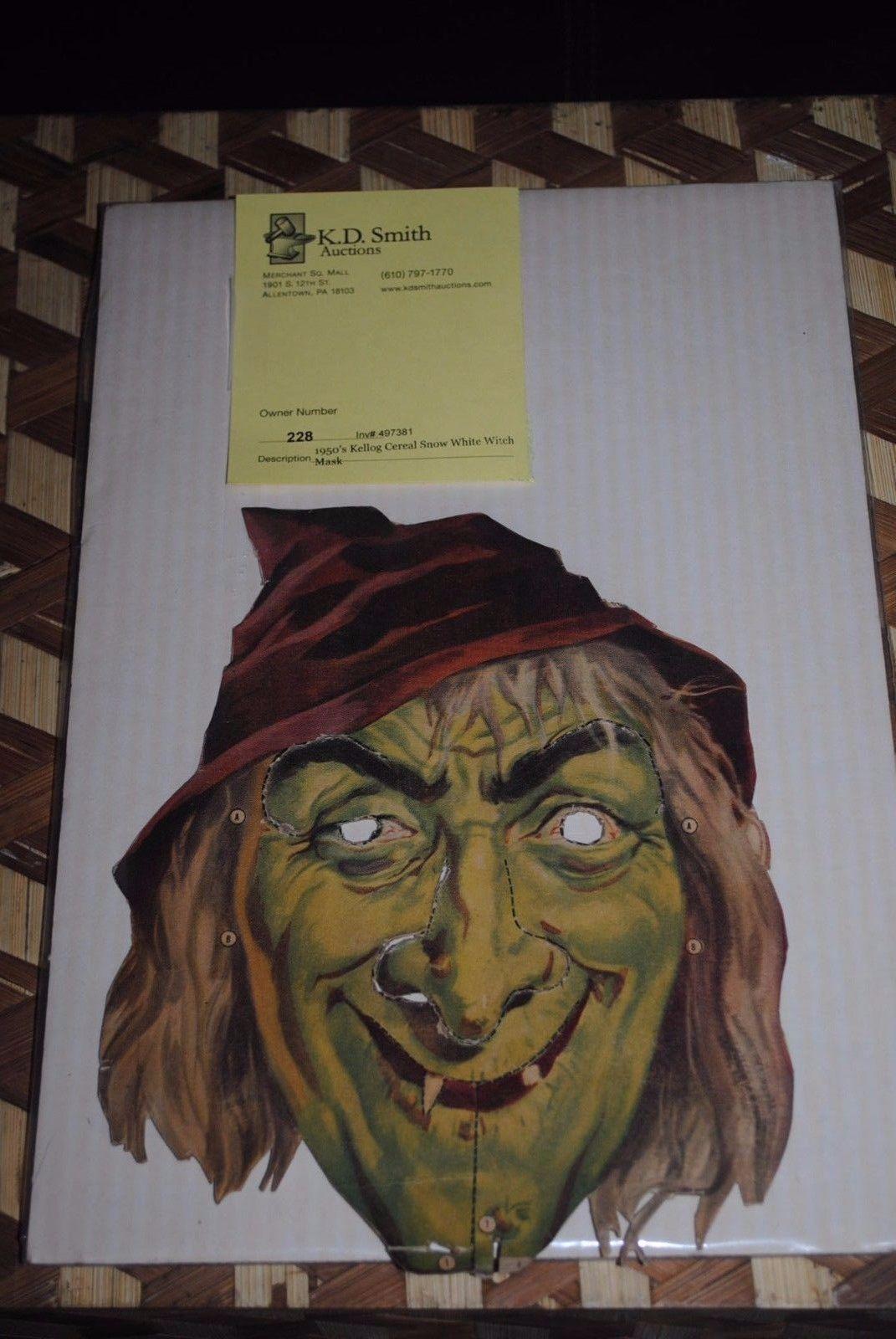 Vintage 1953 Snow White Witch Mask Halloween Witch Kellogg's ...