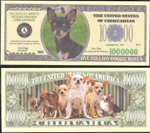 Get it here -Amazon  Million Dollar Chihuahua $1.99 Chihuahua Dog MILLION DOLLAR Novelty Bill Collectible