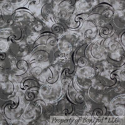 BonEful Fabric FQ Cotton Quilt Gray Black White B&W Dot Swirl Scroll Calico Xmas
