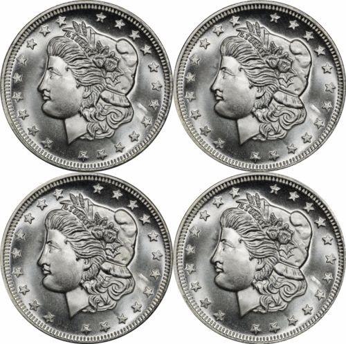 Lot Of 4 Vintage Parliament Morgan Head 1 Oz Silver Round Bu Silver Rounds Indian Head Apmex