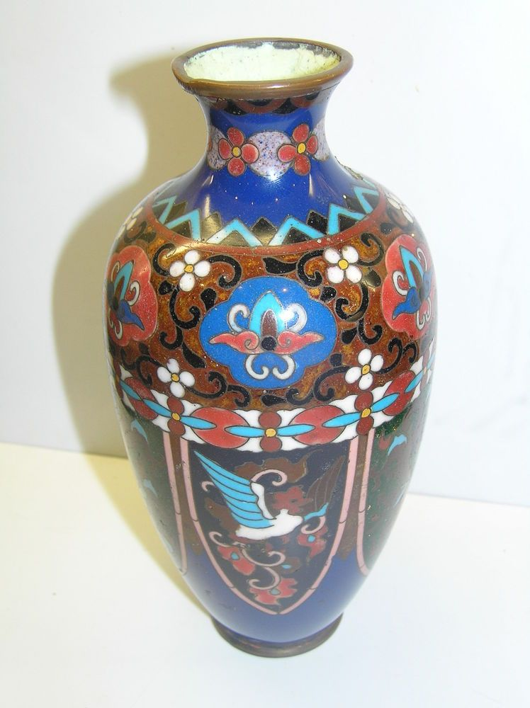 Vintage Antique Cloisonne Enamel Japanese Chinese Vase Dragon