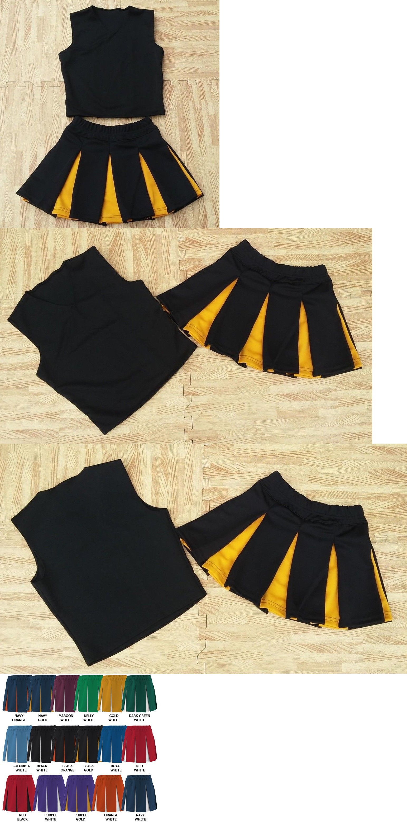 7f8a2bd8c4e Cheerleading 66832  Girl M L Black Real Cheerleader Uniform Top Skirt 28-31  22-24 Steelers Hornets -  BUY IT NOW ONLY   24.99 on  eBay  cheerleading   black ...
