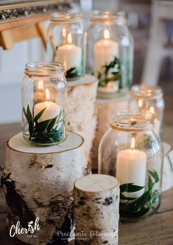 Diy Wedding Decoration Ideas With Candles And Mason Jars Rustic Wedding Centerpieces Diy Wedding Decorations Wedding Centerpieces