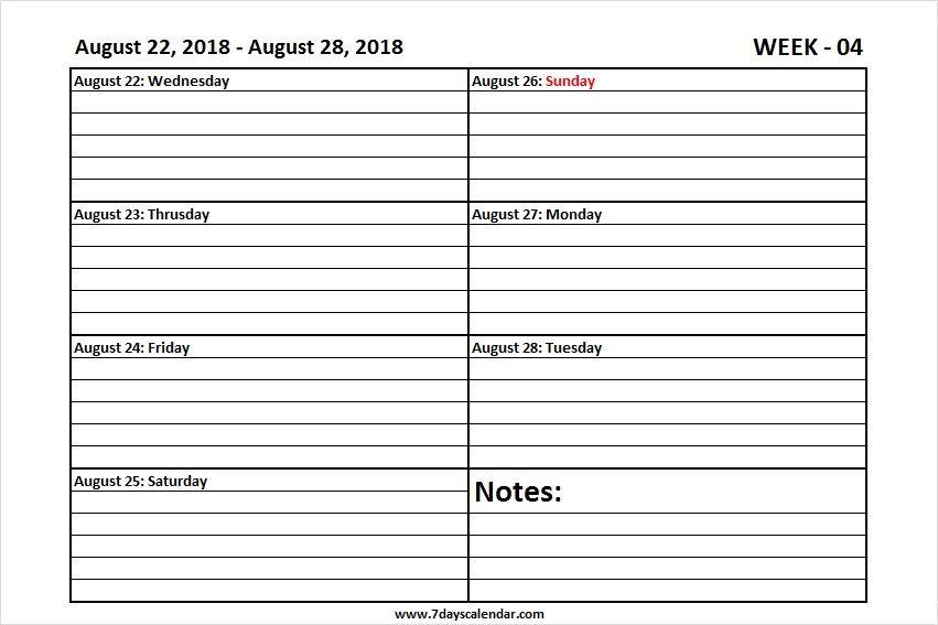 Printable August 2018 Weekly Calendar Weekly Calendar Weekly