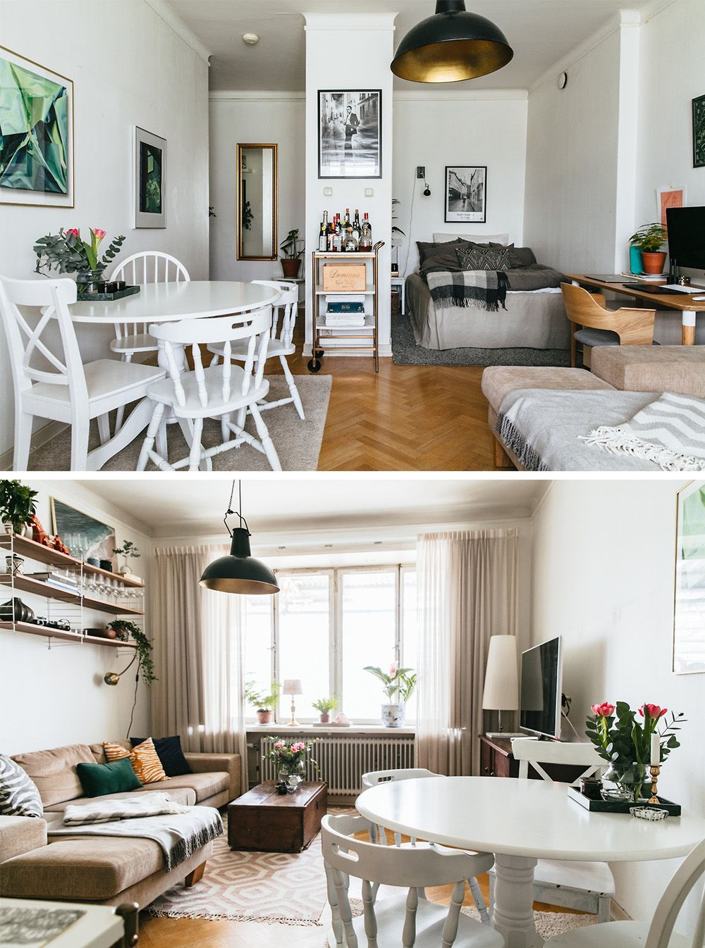 Bedroom Living Room And Dining Room In One Living Room And Bedroom In One Small Apartment Interior One Room Flat