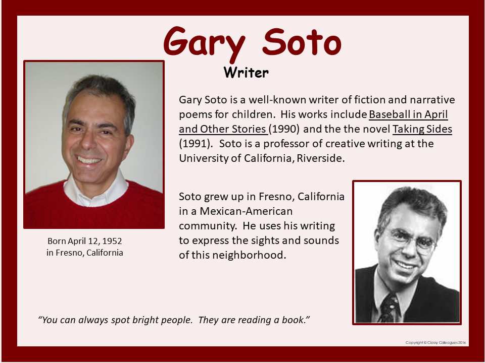 Gary Soto Poster Gary Soto Kids Poems Survivor Quotes
