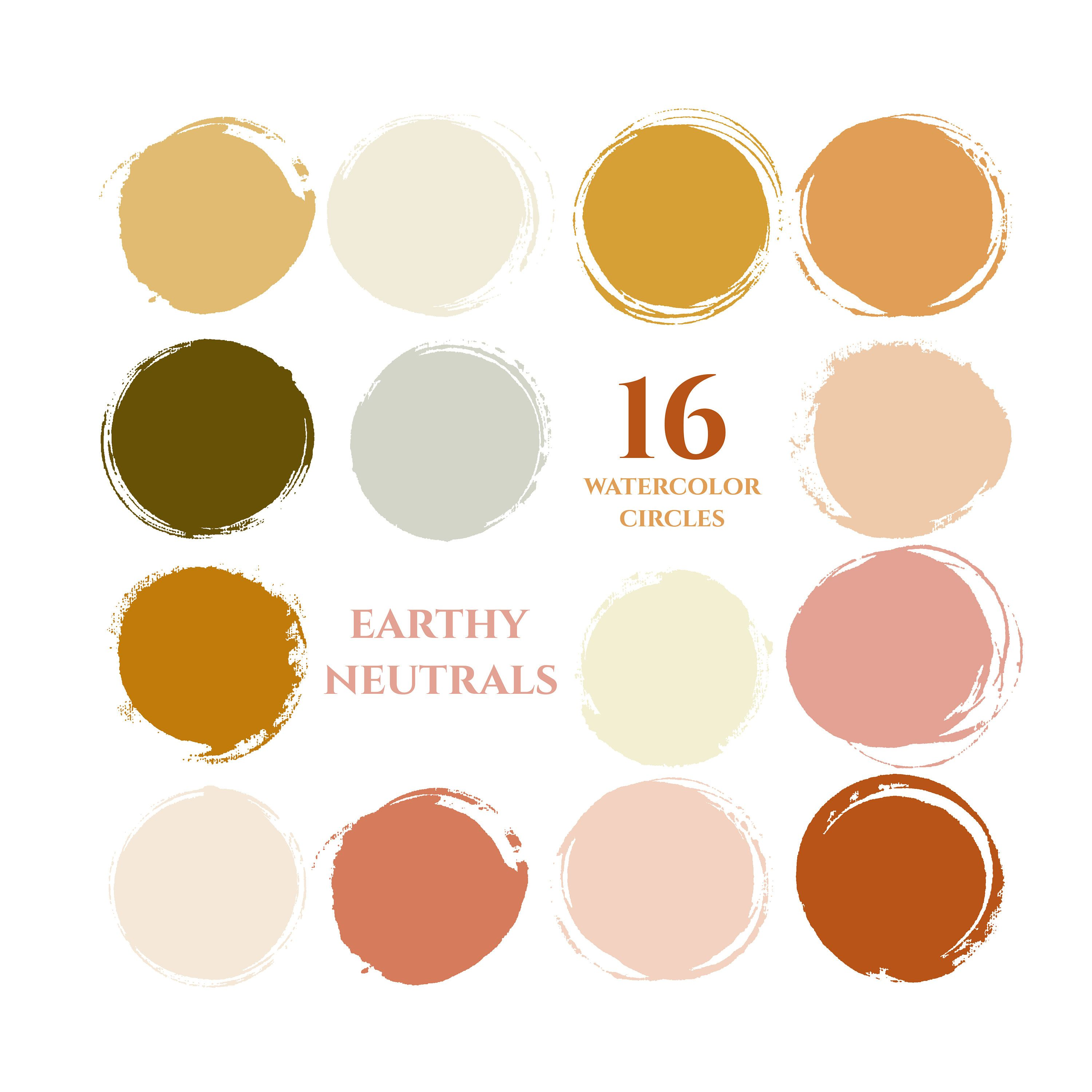 Autumn fall colors instagram story highlight icons earthy neutrals watercolor circles clipart gold copper mustard yellow blog branding kit #fallcolors