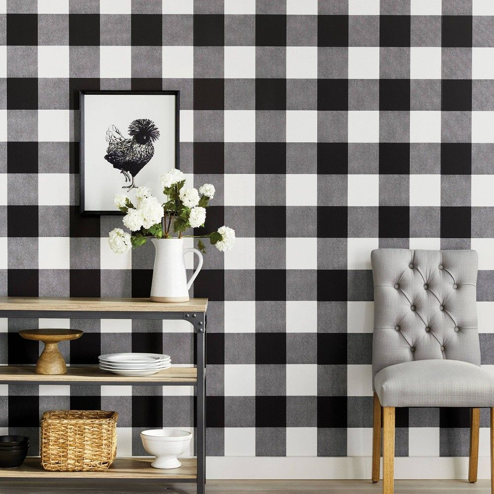 Buffalo Plaid Peel Stick Wallpaper Black Threshold In 2021 Buffalo Plaid Decor Peel And Stick Wallpaper Kitchen Wallpaper Black