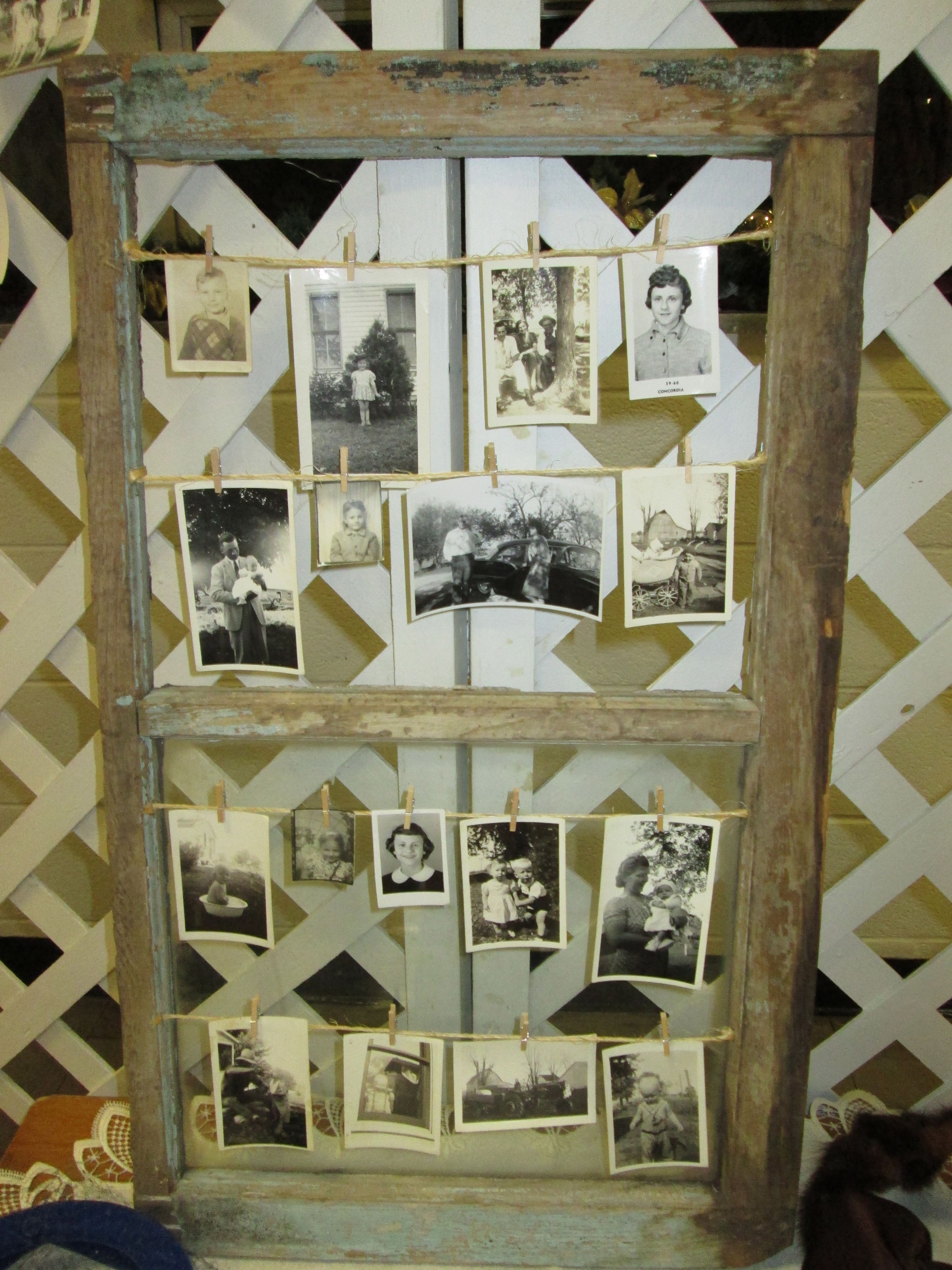 Displaying Old Pictures With Old Window, Twine And Mini