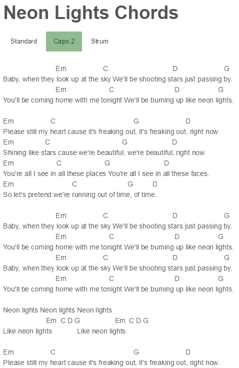 Neon Lights Chords Demi Lovato | Guitar | Pinterest | Neon lighting ...